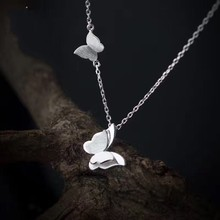 yiustar Fashion jewellery Necklace Silver color Long  chain Butterfly pendant necklace women bijoux femme SYXL061