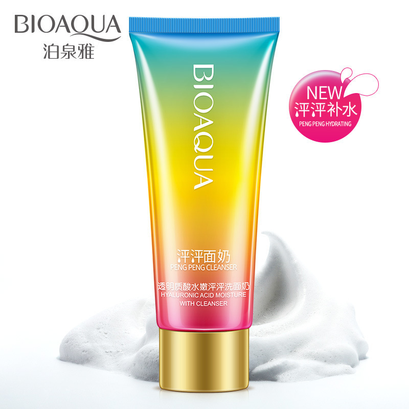 BIOAQUA Hyaluronic Acid Moisturizing Facial Cleanser Deep Cleansing Whitening Skin Shrink Pores Anti Aging Oil Control Skin Care