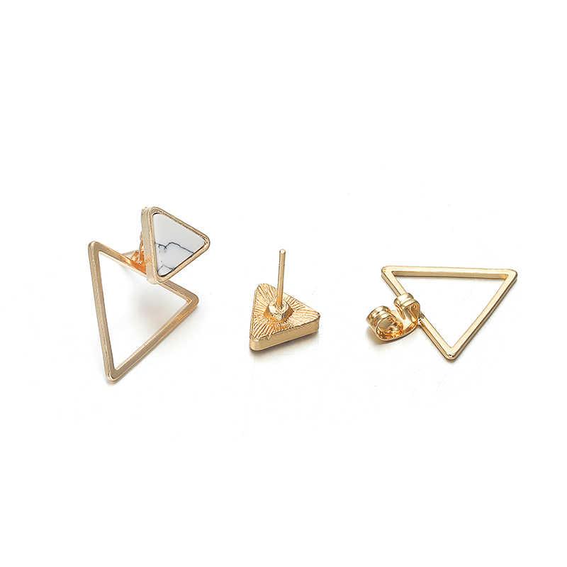 Novos brincos moda simples brincos do parafuso prisioneiro personalidade tendência push-back triângulo brincos por atacado jóias brincos femininos
