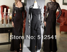 Black Long Sleeves Lace Formal Evening Dresses Sheath Sweetheart Floor Length Ruffle Chiffon Actual Photoes yk8R237