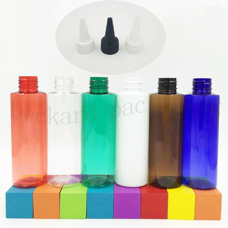 20pcslot 120ml Multicolor Cosmetic Bottles with Flat Shoulder And Pointed Cap Heathy PET Sample Dispenser Dropper Capacity