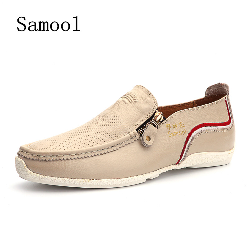 Autumn Mens Casual Shoes Top Fashion Genuine Leather Men Loafers Moccasins Zipper Slip on Men's Flats Male Shoes zapatos hombre купить