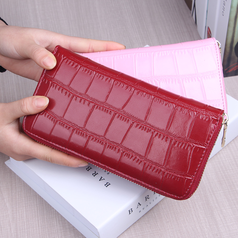 zipper longas carteiras para mulheres Material Principal : Couro Genuíno