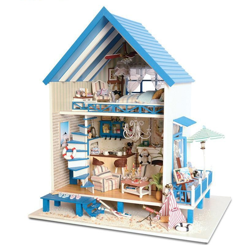 Home Decoration Crafts DIY Doll House Wooden Doll Houses Miniature DIY dollhouse Furniture Kit Room LED Lights Gift A-018 home decoration crafts diy doll house wooden doll houses miniature diy dollhouse furniture kit room led lights gift a 012