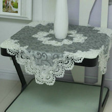 HOT Modern Exquisite Brocade Hollow Embroidery Water Soluble Lace Gray Tablecloth Kitchen Mantel Furniture Dust Cloth Christmas