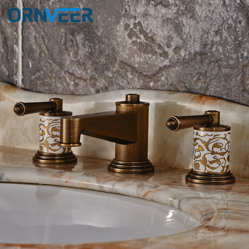 Basin Faucets Brass Polished Rose Gold Deck Mounted Bathroom Sink Faucets 3 Hole Double Handle Hot And Cold Water Tap pastoralism and agriculture pennar basin india