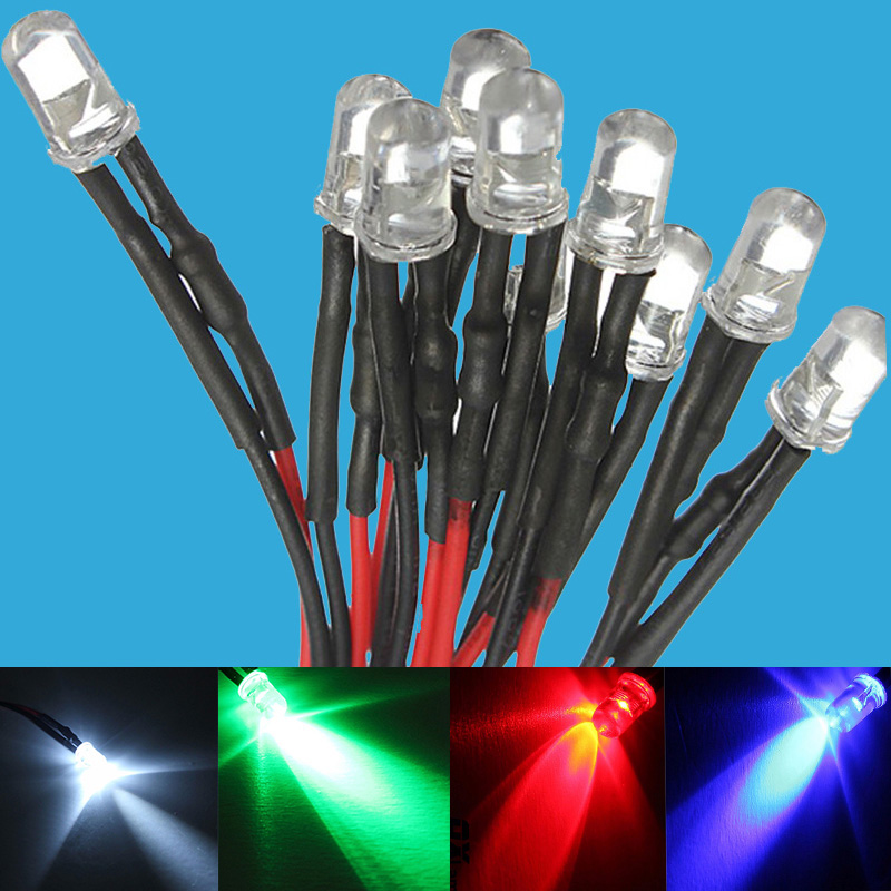 15 Pcs White Blue Red Green Yellow 12v Prewired LED Bulb Light 5mm  Pre Wired LED Lamp Diode DC12V F5 Emitting Diodes
