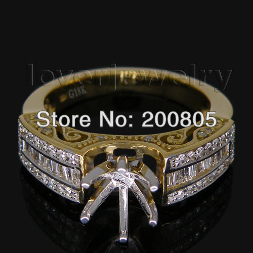 Hot Style Vintage Round 6 8mm 18Kt Two Tone Baguette Diamond Semi Mount Setting Ring R00163