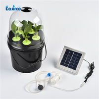 Solar air pump clone bucket for hydroponics system