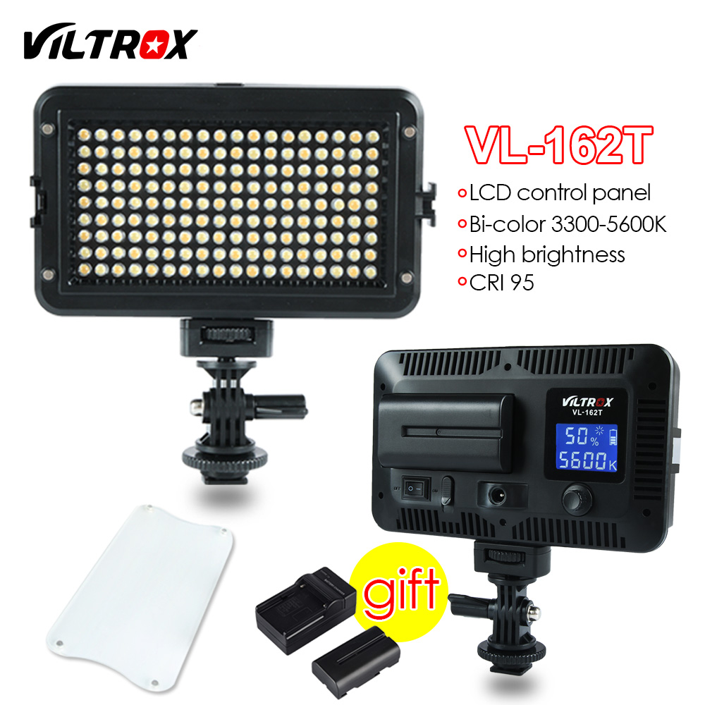 Viltrox 162 LED Video Studio Light LCD Panel Bi-Color Dimmable +Battery+Charger for Canon Nikon Sony DSLR Camera DV Camcorder boya by wm5 by wm6 camera wireless lavalier microphone recorder system for canon 6d 600d 5d2 5d3 nikon d800 sony dv camcorder