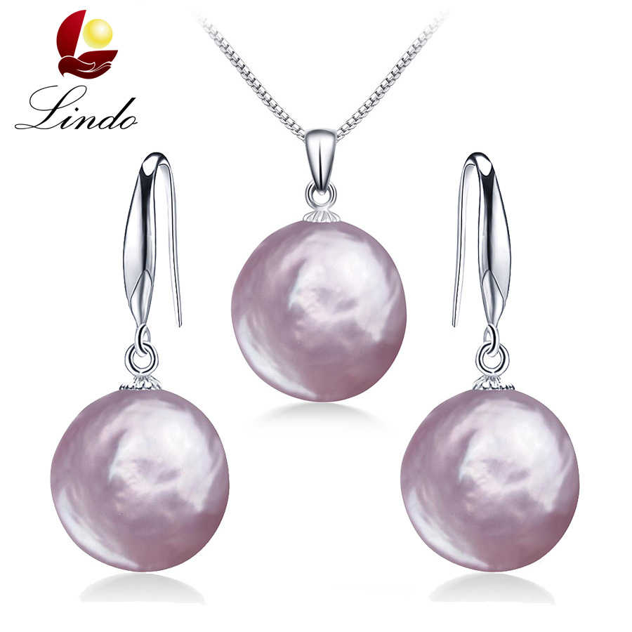 2019 New Arrival Natural Baroque Pearl Jewelry Sets For Women Purple Color 100% Freshwater Pearl Pendant+Earrings Big Pearl