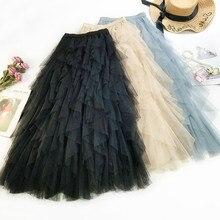 AcFirst Autumn Women Fashion Black Blue Skirt High Waist Mesh Ruffles Ankle Length Long Clothing Asymmetrical