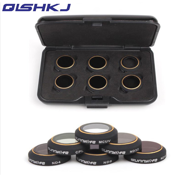 цена 6pc Filters for DJI MAVIC PRO/Platinum Set 6Pcs ND4/8/16/32 CPL Circular Polarizer MCUV UV Camera Lens Filter Kit for DJI Mavic