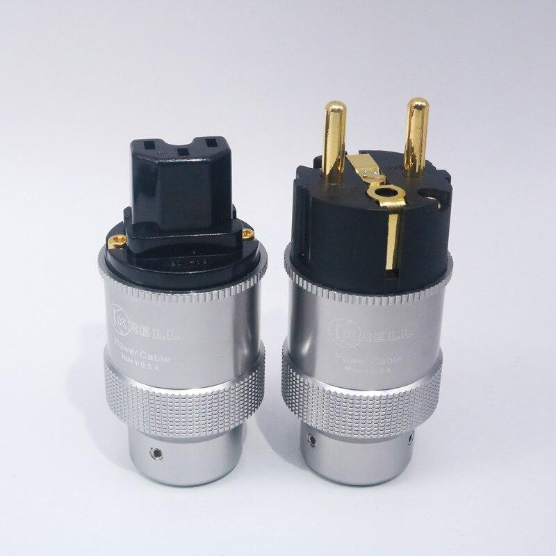 Pair Carbon Fiber Rhodium Plated SCHUKO EU Power Plug IEC Connector HIFI DIY
