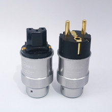 Pair Hi End Krell Gold Plated EU Power Plug IEC Audio Connector HiFi AC Power Cord Plugs For Audiophile DIY Mains Cable