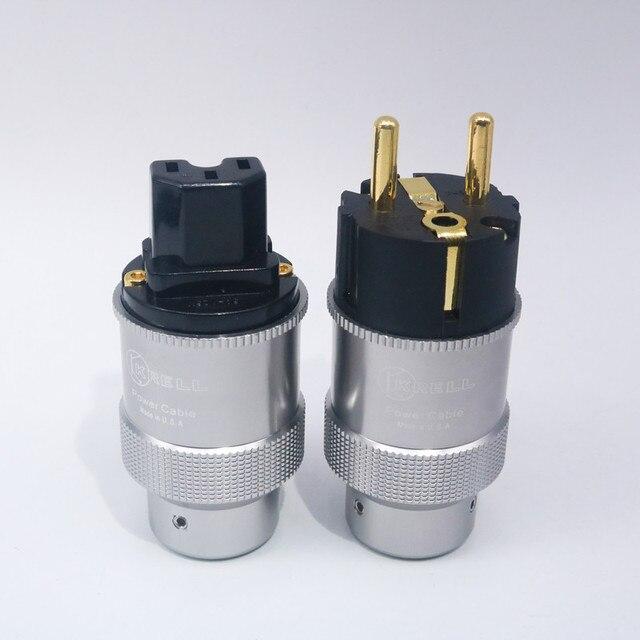 Par de krell de alta qualidade banhados à ouro, tomada de energia cei, conector de áudio hi end, cabo de energia ac, para audiofil cabo de rede diy