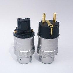 Par oi-end krell banhado a ouro plugue de alimentação da ue iec conector de áudio alta fidelidade ac cabo de alimentação plugues para audiophile diy cabo de alimentação
