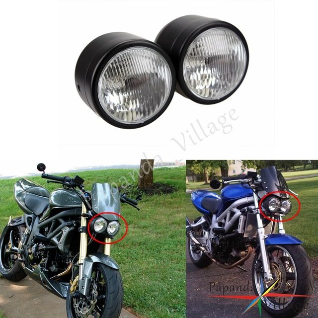 Papanda Motorcycle Black Streetfighter Twin Headlight Billet Head Lamp Custom For Harley Dyna Cafe Racer Cruiser