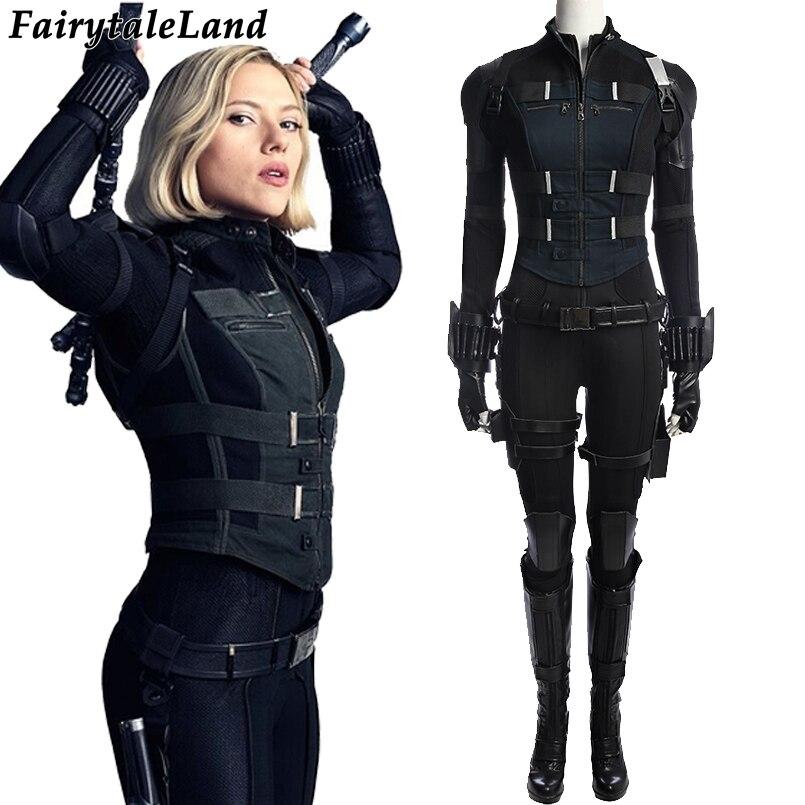 Avengers Infinity Guerre noir veuve costume Carnaval Halloween superhero noir veuve salopette cosplay Natasha Romanoff costume