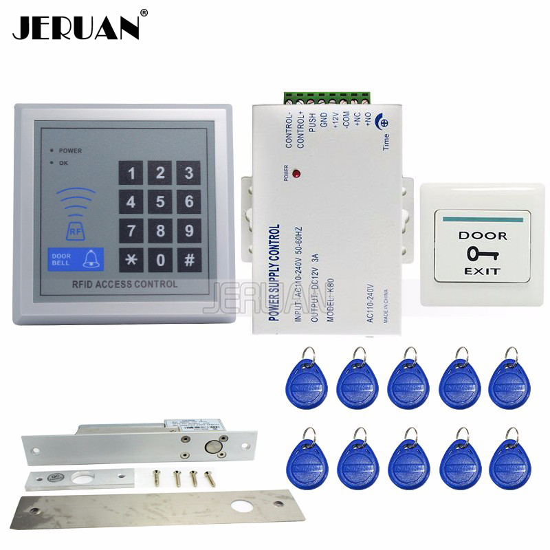 JERUAN FREE SHIPPING Brand NEW RFID Door Access Control System Set+Electronic Drop Bolt Door Lock+Rfid Keypad+Exit Button+Power brand new white rfid entry access control system kit set strike door lock rfid keypad exit button in stock free shipping page 8