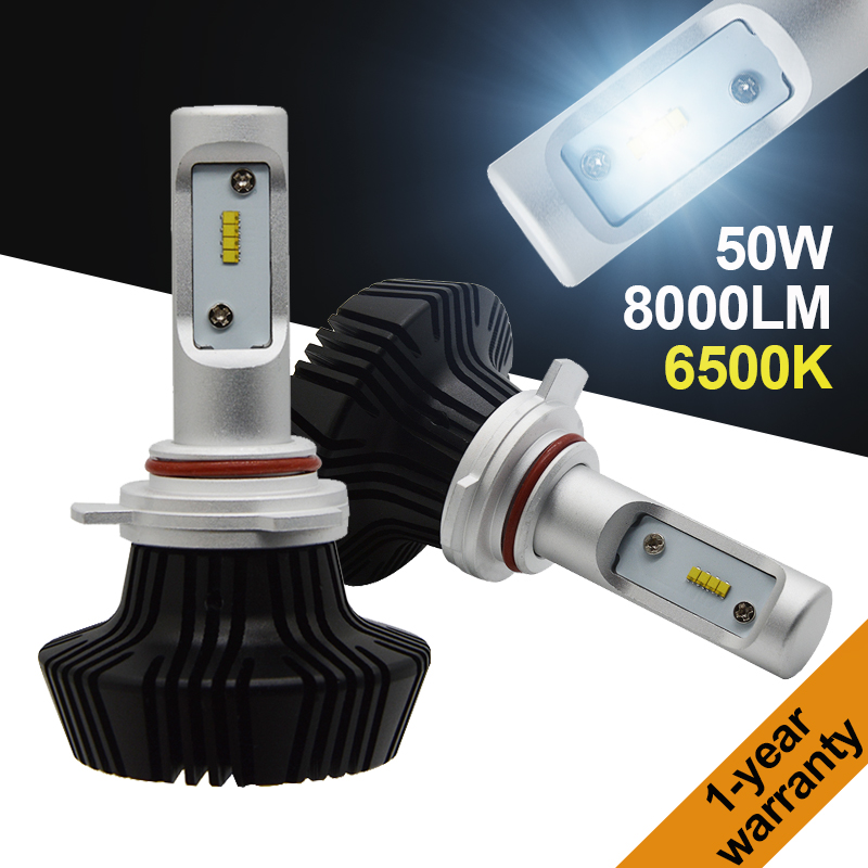 Yeslight H1 H3 H4 H7 H11 9005 HB3 9012 9006 HB4 Kit de faros LED Auto LUXEON ZES LUMILED Chips 7th Fanless 6500K 50W 8000LM G7