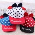2017 primavera new baby boy girl baseball cap patrón de puntos arco accesorios de decoración niños viseras unisex niños sombrero de la manera