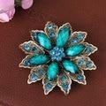 Xz8334 moda mujeres azul / Brown flor broches Pin aleación de Crack de acrílico con diamantes de imitación broches / bufanda de la gota