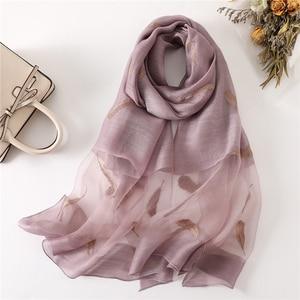 Image 1 - New silk wool scarf women fashion feather embroidery shawl wrap elegant lady Sunscreen pashmina winter neck scarves hijab femme