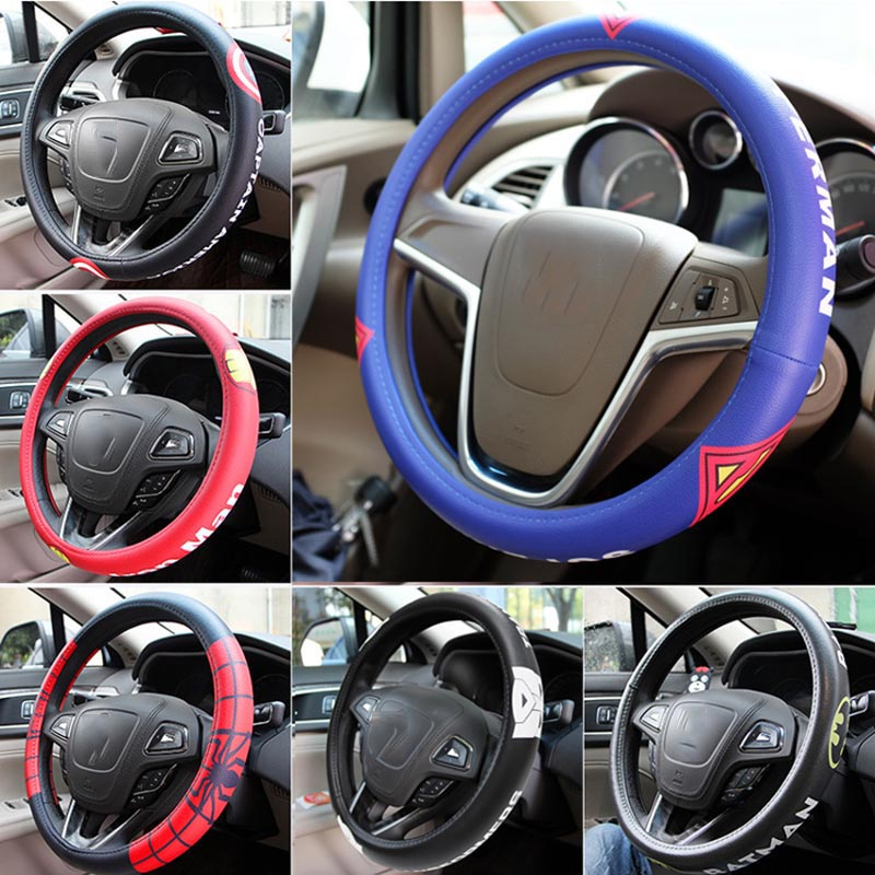 Super hero car steering wheel cover environmental protection rubber ring inside cover fur accessories car