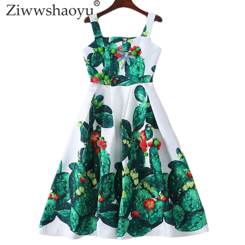 Ziwwshaoyu Fashion Spaghetti Strap dresses Sexy backless Beading Diamonds Elegant cactus Print dress 2019 summer new women