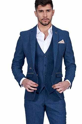 2017最新コートパンツデザイン紺ツイード男性スーツウエディングタキシードスリムフィット3ピースカスタム新郎ブレザー結婚式スーツmasculino