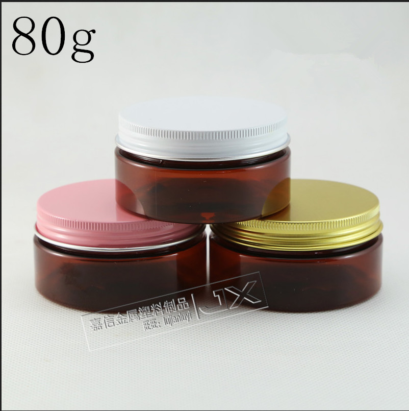Free Shipping 80g ml Brown Plastic Flat Bottle Jar Pink Screw lid Butter Pomade Bath Salt