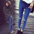 Gravidez Roupa Gestante Leggings Jeans Skinny Mulher Calças de Maternidade Outono Maternidade Jeans Lápis Buraco Distrressed Calças Jeans