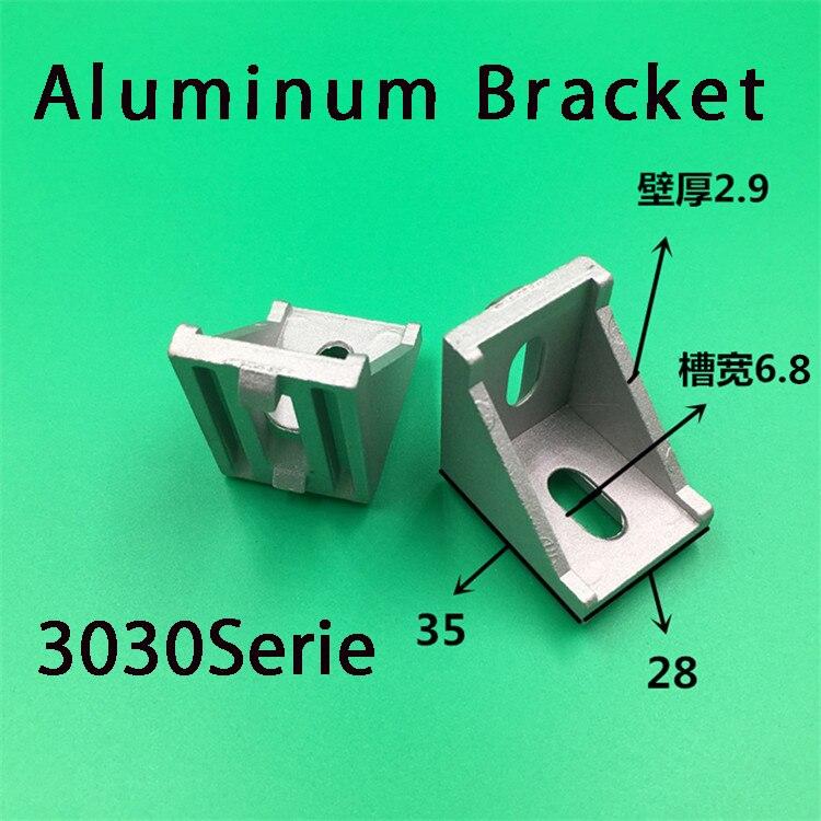 50pcs 3030 Brackets Corner Fitting Angle Aluminum 35x35 L Connectors Bracket Fastener For 3030 Industrial Aluminum Profile