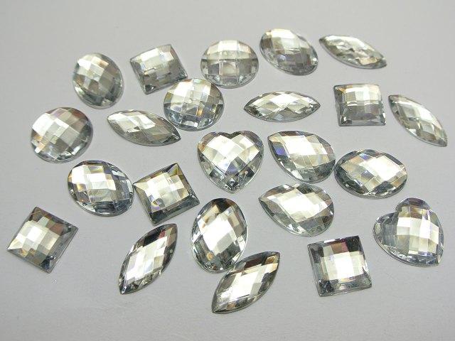 BSTAYLYEXI 100pcs mix size  Clear Color Flatback Acrylic Rhinestone Assorted Shape No Hole Garment  Jewelry accessories