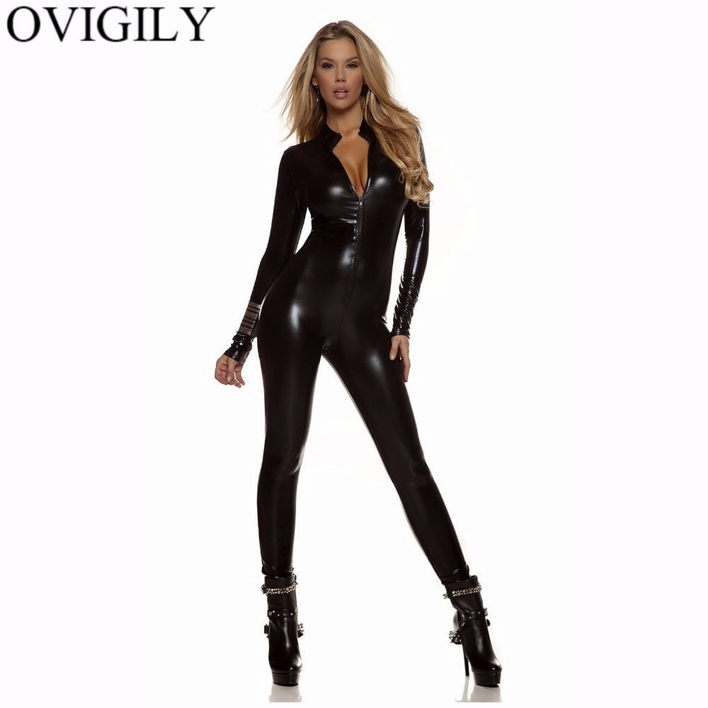 OVIGILY Women Sexy Metallic Unitard Catsuits Girls Gold Silver Black Turtleneck Long Sleeve Full Zentai Bodysuits Shiny Catsuits