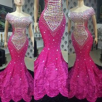 Fuchsia Prom Dresses Mermaid Gorgeous Evening Dress Vestidos Custom Made Elegant Evening Formal Gown robe de soiree