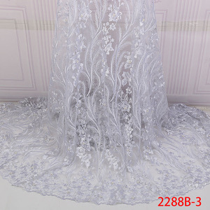 Image 4 - Mesh Lace Trim Latest African Laces 2019 Beads Red Lace Embroidery Gold Lace Fabric Bridal Lace For Nigerian Dresses QF2288B 1