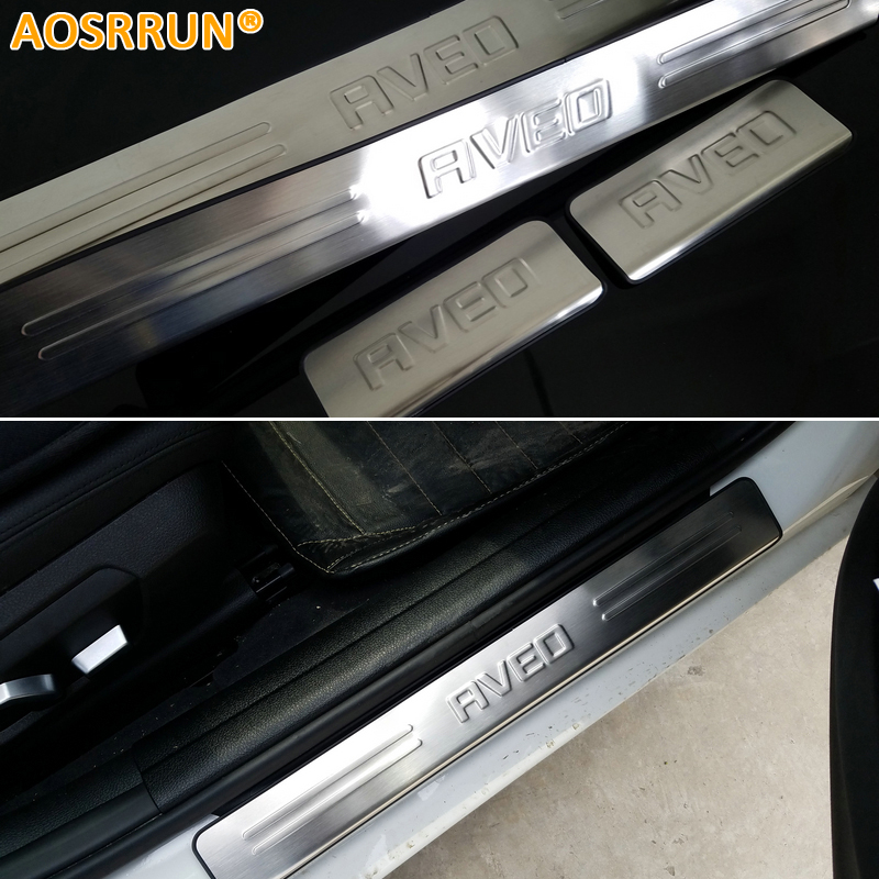 AOSRRUN car accessories stainless steel exterior scuff plate door sills for Chevrolet <font><b>Aveo</b></font> Sonic 2011 2012 <font><b>2013</b></font> image