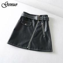 Genuo Spring Summer Casual PU Leather Skirt Women Elegant Zipper Mini Lady Skinny High Waist Black Pencil Skirts Outfit