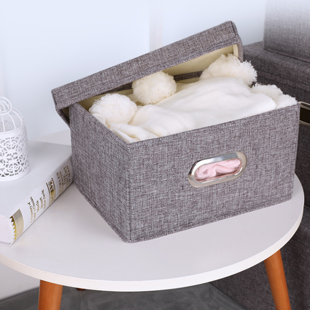 Storage Boxes Cotton And Linen Storage Box Drawer Folding Gray Solid Line Box Home Clothing Organizer Square Home Textile