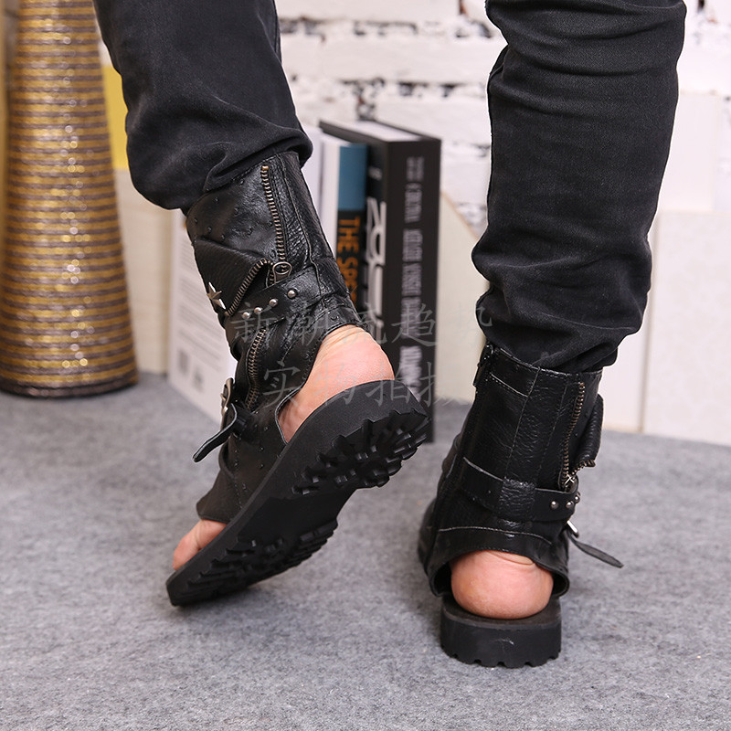 2016 vente chaude d'été plage chaussures hommes sandales noir en cuir véritable tongs Rome style homme cool haute sandales - 2