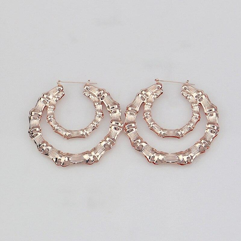 Vintage Women Punk Silvet Big Hoop Large Round Circle U Earrings Jewelry Gift