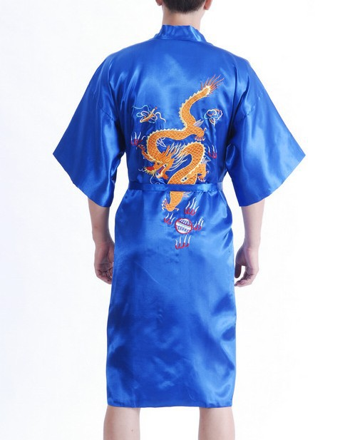 New Fashion Blue Male Satin Night Gown Chinese Embroidery Robe Dragon Kimono Gown Size S M L XL XXL XXXL S0021