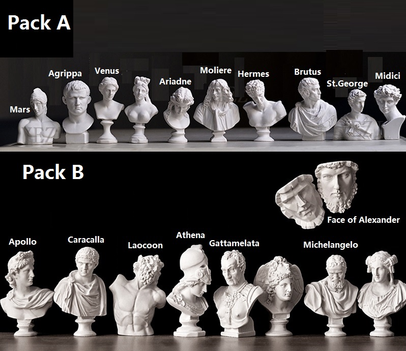 Miniature (5-8cm height) Plaster Busts Pack of Ancient Romans & Greeks and other Historical Figures: Mars, General Agippa historical and biblical israel