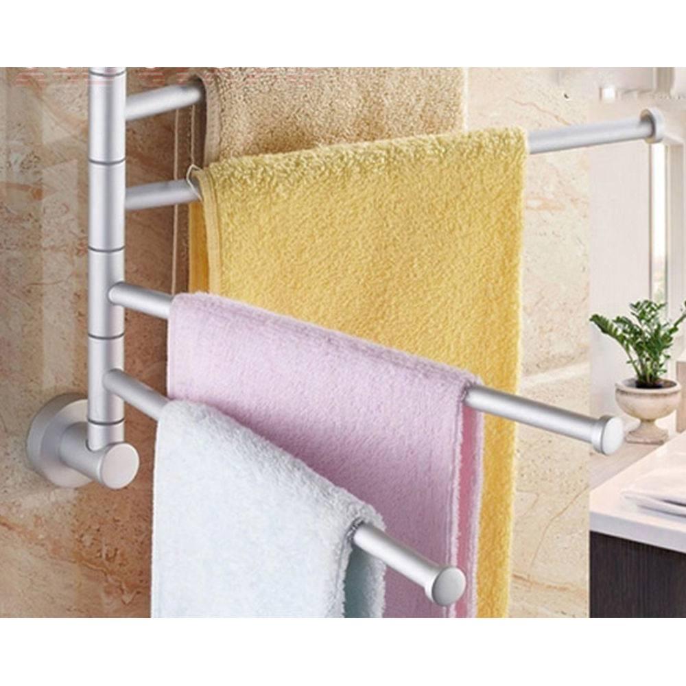 Aluminum Swivel Towel Bar Rotating Towel Rack 4 Bar Bathroom Kitchen ...