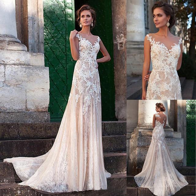 Fabulous Tulle Bateau Neckline Sheath Nude Wedding Dresses With Color Lace Appliques Illusion Back Sexy Bridal Dress