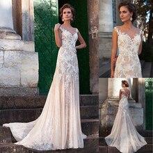 Robe de mariée en Tulle, fabuleuse robe de mariée, avec des Appliques en dentelle de couleur, Illusion dos, Sexy, robe de mariée