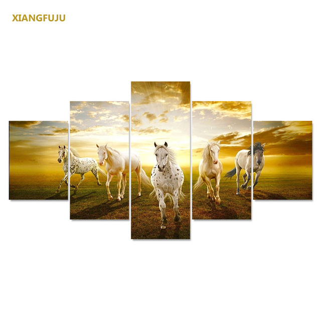 5pcs/set Wall Art Sunset Running Horse Canvas Paintings Living Room ...