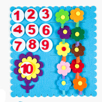 ZY DIY Felt Fabric Colorful Flowers Number Early Leanring Felt Fabric Children Handmade Nonwoven Decoration